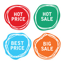 Vector Price Tags. Sale Offer Labels
