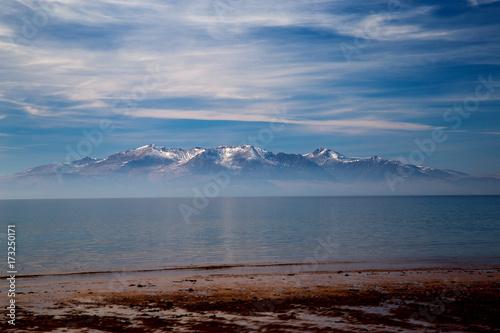 Isle of Arran from Seamill Beach Ayrshire Canvas Print