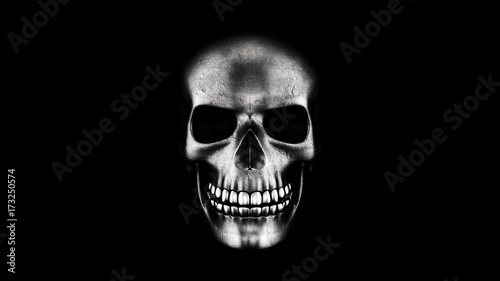 Photo  Human Skull On Black Background 3D Rendering