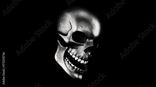 Photo  Human Skull On Black Background 3D Rendering