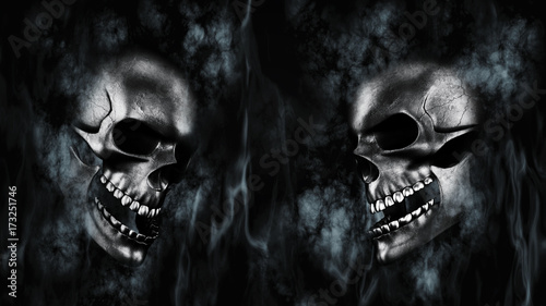 Photo  Happy Halloween. Human Skulls With Smoke And Fire 3D Rendering
