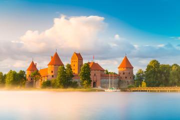 Old castle in sunrise time. Trakai, Lithuania, Eastern Europe.