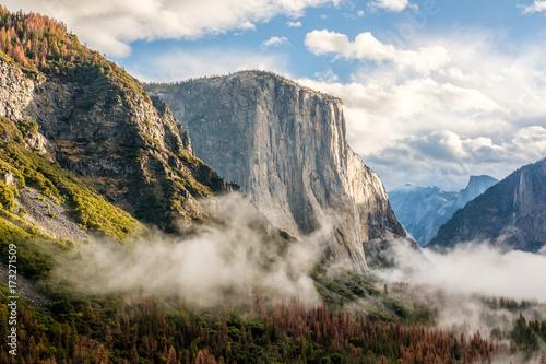 Yosemite Valley at cloudy autumn morning Canvas Print