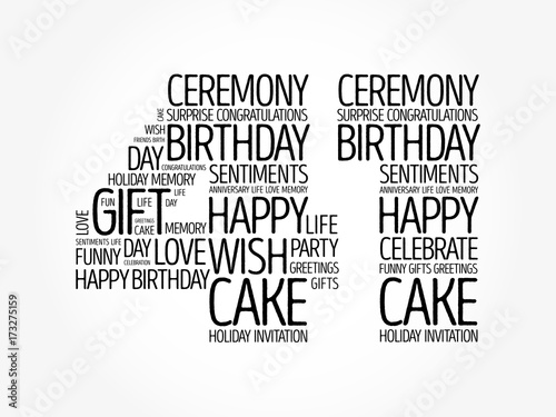 Poster  Happy 41st birthday word cloud collage concept
