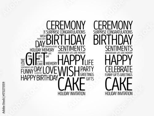 Fotografia  Happy 41st birthday word cloud collage concept