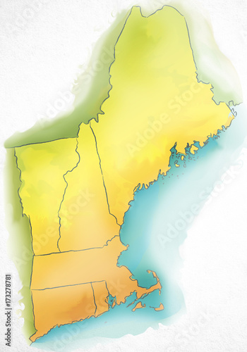 Watercolor map of New England USA - Buy this stock photo and ... on new englland map, colonial america, new york, east coast usa map, game new england map, lowell usa map, providence new england map, new england mid atlantic map, massachusetts bay colony, new york city, new hampshire, mid-atlantic states, cheyenne usa map, new england google map, rhode island, tallahassee usa map, jacksonville usa map, new england tourist map, new england quebec map, boston usa map, appalachian mountains, plymouth colony, southern united states, northeastern united states, new england map new york, wichita usa map, new england highway map, new south wales nsw maps, new jersey, cape cod, new englind colinies, new enlgand excluding vermont, route 84 new york map,