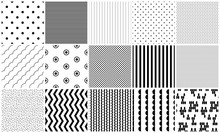 Seamless Pattern Vector Black And White Geometric Textures. Simple Shapes Background Repeat Designs.