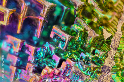 Amazing colorful rainbow Bismuth Gemstone macro closeup texture as background