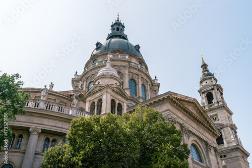 Fotobehang St. Stephen's Basilica, the largest church in Budapest, Hungary. Exterior in summer sun light with blue sky