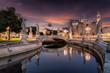 Das Prato della Valle mit Blick auf die Basilica of St. Giustina bei Sonnenuntergang in Padova, Italien
