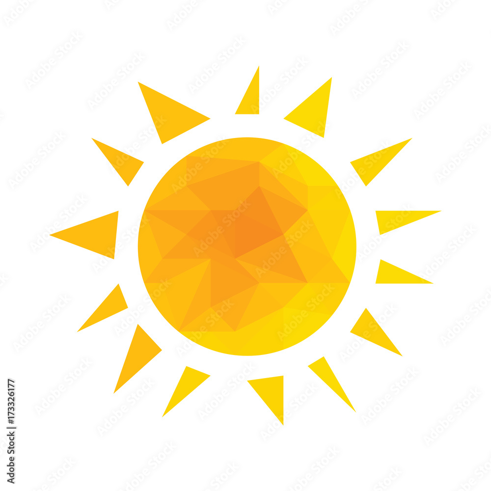 Fototapeta Yellow segmented geometric sun with rays vector.