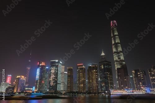 Stickers pour porte Pierre, Sable Skyline of Shanghai