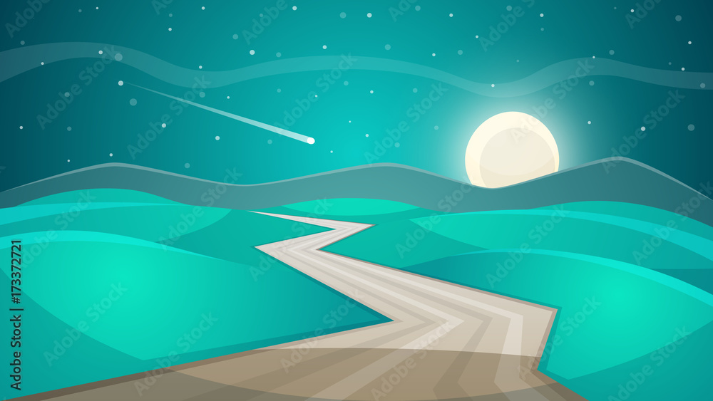 Fototapety, obrazy: Cartoon night landscape. Moon and cloud. Vector eps 10