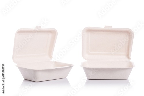 White empty organic box made from bagasse for food packaging Wallpaper Mural