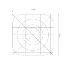 Vector App Icon Dimensions, Development Grid Line