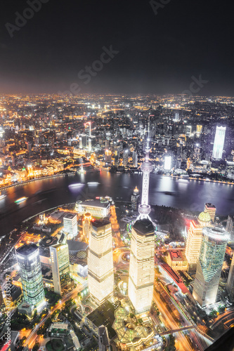 Photo Stands Las Vegas Aerial View of Lujiazui Financial District at night in Shanghai,China