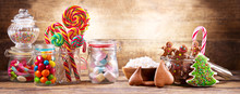 Colorful Candies, Lollipops, M...