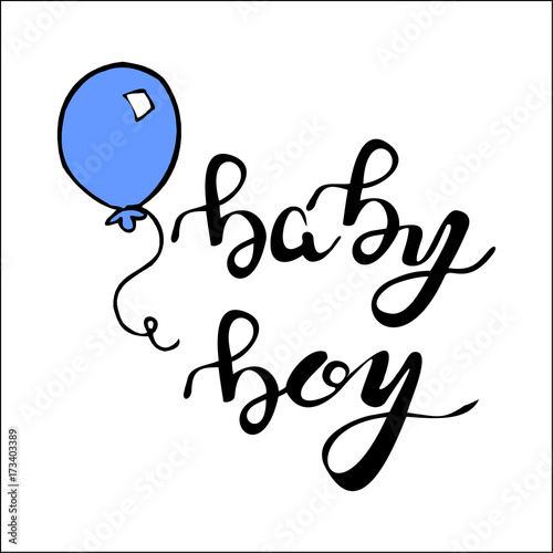 Phrase Baby Boy Hand Written Lettering Buy This Stock Illustration