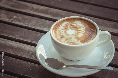 Fototapety, obrazy: Cup of coffee art on old wooden table