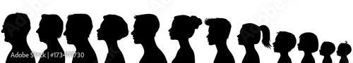 Head silhouettes of people. Black and white