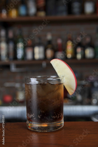 Glass of Jack Daniels and apple Canvas Print