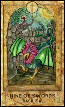Basilisk. Minor Arcana Tarot Card. Nine Of Swords. Fantasy Graphic Illustration