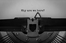 Text Why Are We Here Typed On Retro Typewriter