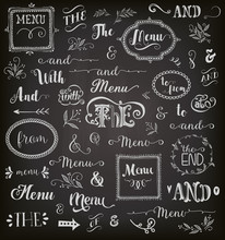 Catchwords And Phrases On Chalkboard, With Frames, Swirls, Arrows And Decorative Graphic Elements