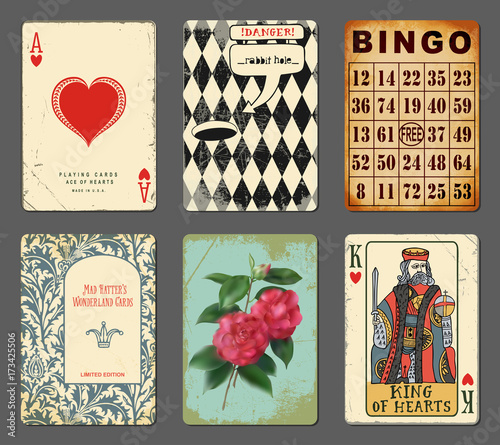 Wonderland Playing Cards - Set of whimsical playing cards inspired by Alice in W Wallpaper Mural