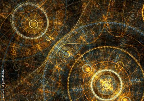 Fotografie, Obraz  Golden mechanical compass, steampunk fractal background