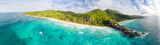 Panoranic aerial view of Grand and Petite Anse in La Digue, Seychelles