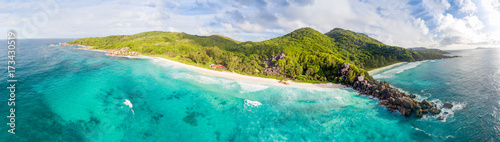 Fotografie, Obraz  Panoranic aerial view of Grand and Petite Anse in La Digue, Seychelles