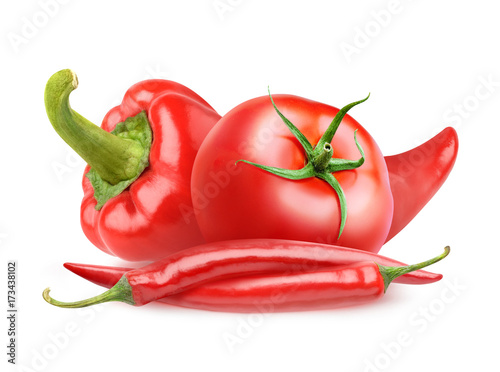 Isolated vegetables. Fresh tomato, bell pepper and red chili peppers isolated on white background with clipping path