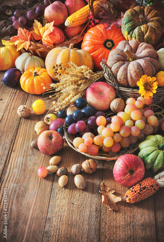 Autumn thanksgiving still life on wooden table Wall mural