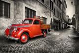 Red retro car - 173442565