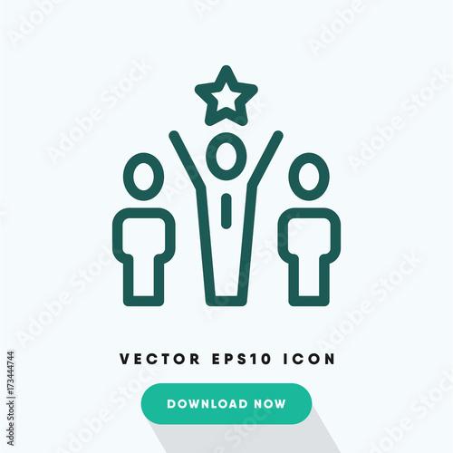 Fotografía  Motivation icon, worker leadership symbol