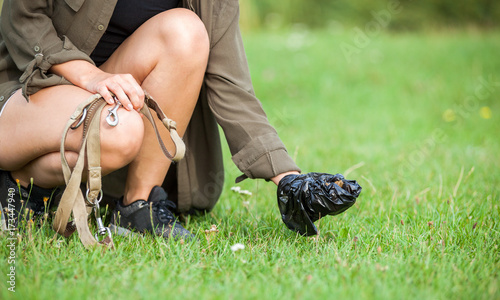 Female owner cleaning dog crap with plastic bag at grass field Canvas Print