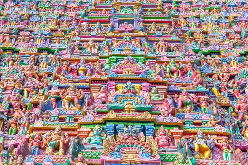 Poster Graffiti Colorful hindu temple tower view