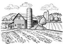 Rural Landscape, Farm Barn And...