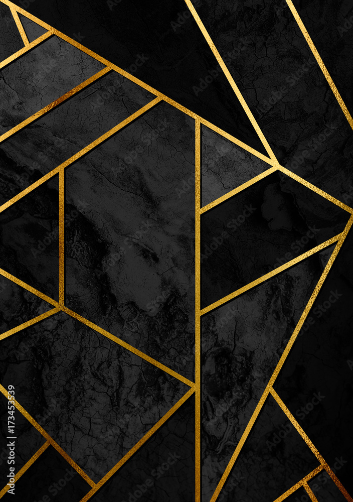 Fototapeta Modern and stylish abstract design poster with golden lines and black geometric pattern.