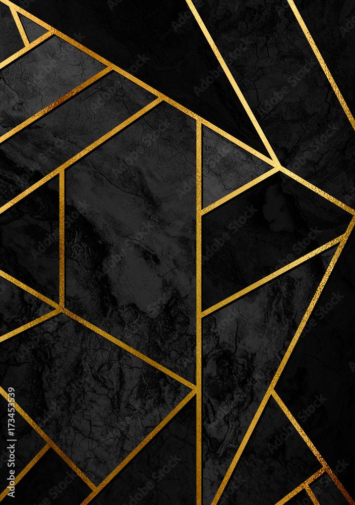 Abstrakcja ze złotymi liniami i czarnym wzorem geometrycznym