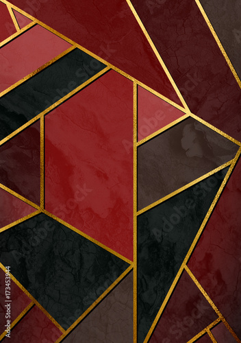 Modern colorful stylish abstract design poster with golden lines.