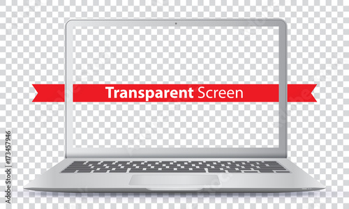 Photo  Laptop Vector Illustration with Transparent Screen.
