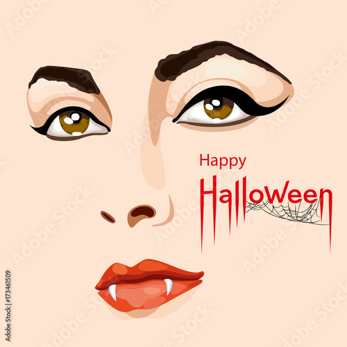 Halloween Vampire Fangs Clipart.Happy Halloween Card Pretty Woman S Face With Scary Vampire Fangs