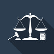 Symbol of law and justice. Concept law. Scales of justice, gavel and book icon isolated with long shadow. Legal law and auction symbol. Flat design. Vector Illustration
