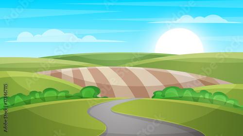 Photo sur Aluminium Vert chaux Cartoon landscape illustration. Sun. cloud hill Vector eps 10