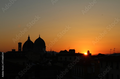 Aluminium Prints Delhi Vu du Duomo et de la Synagogue de Florence au coucher de soleil