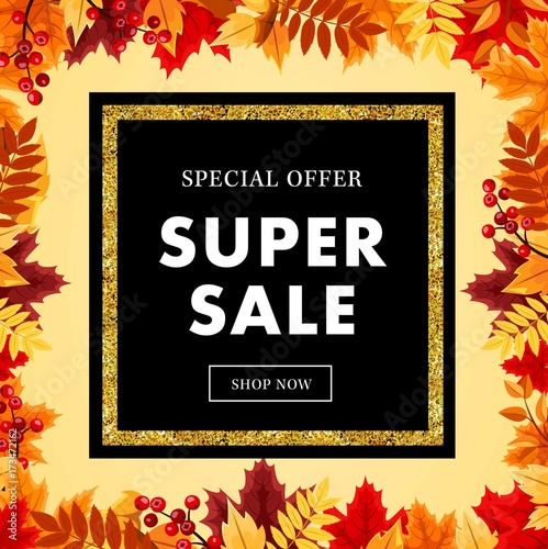 Fototapety, obrazy: Autumn super sale banner with maple autumn leaves, gold element and outline. Vector fall poster ,label, flyer and shopping vol 13
