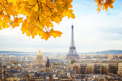 Fototapety, obrazy: skyline of Paris city with eiffel tower from above at fall, France, toned