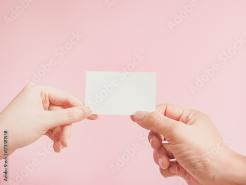 Business Communication Concept By Exchange Name Card Asian Woman Hand To Man Of Customer